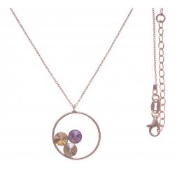 Collier argent rosé 3,9g  - cristaux de swarovski - couleur pêche, améthyste et vert clair - 40+5cm