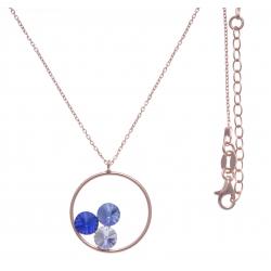 Collier argent rosé 3,9g  - cristaux de swarovski - couleur crystal, saphyr et bleu clair - 40+5cm