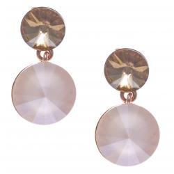 Boucles d'oreille argent rosé 3,6g - cristaux de swarvoski -  couleur ivoire