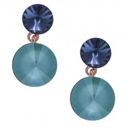 Boucles d'oreille argent rosé 3,6g - cristaux de swarvoski - couleur saphir et menthe verte