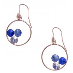 Boucles d'oreille argent rosé 3,7g - cristaux de swarovski - couleur crystal, saphyr et bleu clair