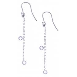 Boucles d'oreille argent rhodié 1,6g - cristaux de swarovski - chaîne 4,5cm
