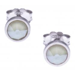 Boucles d'oreille argent rhodié 1,1g - cristaux de swarovski -  couleur ivoire - diamètre 5mm