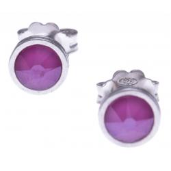 Boucles d'oreille argent rhodié 1,1g - cristaux de swarovski -  couleur rose pivoine - diamètre 5mm