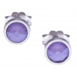 Boucles d'oreille argent rhodié 1,1g - cristaux de swarovski -  couleur lila - diamètre 5mm