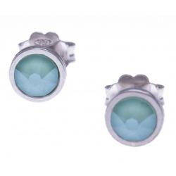 Boucles d'oreille argent rhodié 1,1g - cristaux de swarovski -  couleur menthe verte - diamètre 5mm