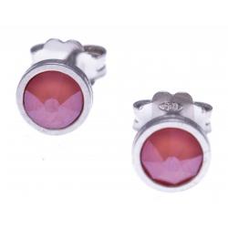 Boucles d'oreille argent rhodié 1,1g - cristaux de swarovski -  couleur corail clair - diamètre 5mm