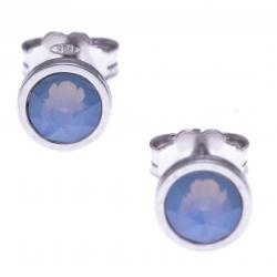 Boucles d'oreille argent rhodié 1,1g - cristaux de swarovski -  couleur bleu été - diamètre 5mm