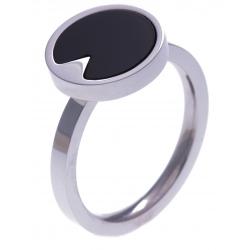 Bague en acier - onyx - diamètre 12mm - T50 à 60