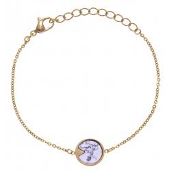 Bracelet en acier doré - howlite - 12mm - longueur 16+4cm