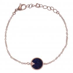 Bracelet en acier rosé - sodalite - 12mm - longueur 16+4cm
