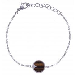 Bracelet en acier - œil de tigre - diamètre 12mm - longueur 16+4cm