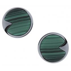 Boucles d'oreille acier - malachite - diamètre 12mm