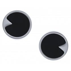 Boucles d'oreille acier - onyx - diamètre 12mm