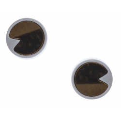 Boucles d'oreille acier - œil de tigre - diamètre 12mm