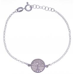 Bracelet argent rhodié 2,5g - nacre blanche - arbre de vie - diamètre 14mm - longueur 17+3cm