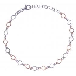 Bracelet argent rhodié 3,3g - 2 tons - ronds - 17+3cm