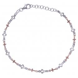 Bracelet argent rhodié 3,3g - 2 tons - croix - 17+3cm
