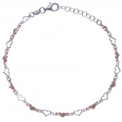 Bracelet argent rhodié 3,4g - 2 tons - coeurs - 17+3cm