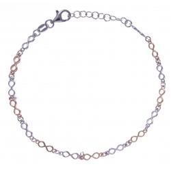 Bracelet argent rhodié 3,4g - 2 tons - ronds - 17+3cm