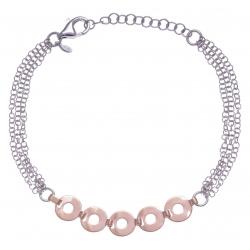 Bracelet argent rhodié 3,8g - 2 tons - losanges - 17+3cm