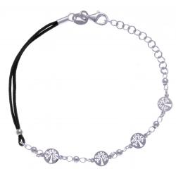 Bracelet argent rhodié 2,5g - arbres de vie - cordon noir - 17+3cm
