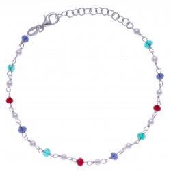 Bracelet argent rhodié 2g - perles multicolores - 17+3cm