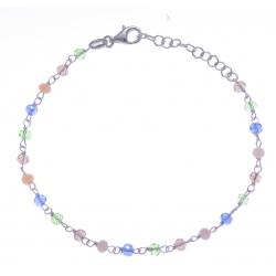 Bracelet argent rhodié 2g - perles de couleur vert, gris rose et bleu - 17+3cm