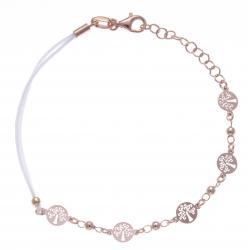 Bracelet argent rosé 2,5g - arbres de vie - cordon blanc - 17+3cm