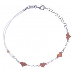 Bracelet argent rhodié 1,9g - 2 tons - coeurs - cordon blanc - 17+3cm