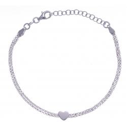 Bracelet argent rhodié 2,8g - cœur - 17+3cm