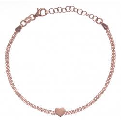Bracelet argent rosé 2,8g - cœur - 17+3cm