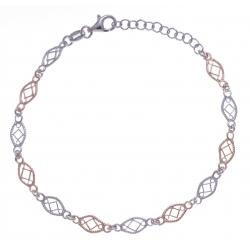 Bracelet argent rhodié 3,2g - 2 tons - filigranés - 17+3cm