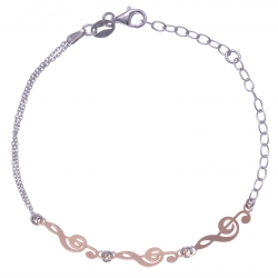 Bracelet argent rhodié 2,2g - 2 tons - 2 rangs - clef de sol - 17+3cm