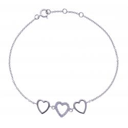 Bracelet argent rhodié 1,7g - 16+1+1cm