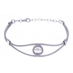 Bracelet argent rhodié 3,9g - arbre de vie - cristaux - 16+3cm