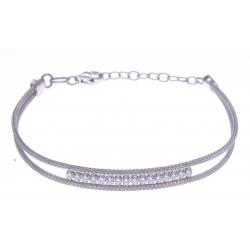 Bracelet argent rhodié 3,5g - cristaux - 16+3cm
