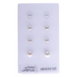 Prés. 4prs BO argent 2g perles véritables blanches