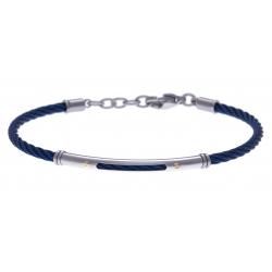 Bracelet acier - câble acier bleu - or jaune 18KT 0,03gr - 19,5+15cm