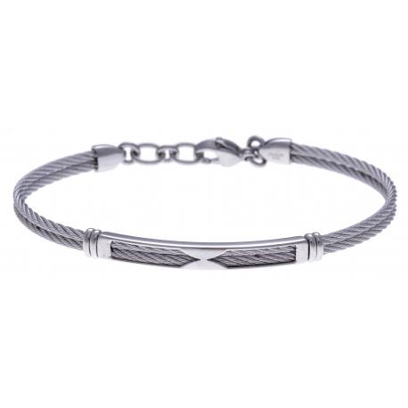 Bracelet acier - 2 câbles acier - 19,5+1,5cm
