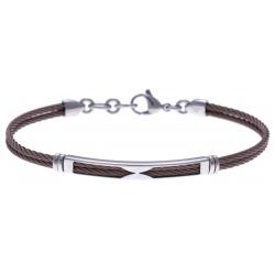 Bracelet acier - 2 câbles marron - 19,5+1,5cm