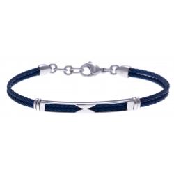 Bracelet acier - 2 câbles acier bleu - 19,5+1,5cm