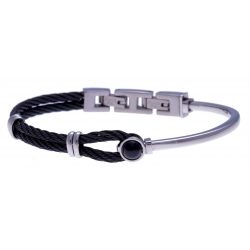 Bracelet acier - câble acier noir - cabochon onyx - 19,5+1,5cm - réglable