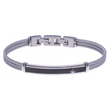 Bracelet acier - 2 tons - 3 câbles acier -  plaque noire - étoile - 19,5+1,5cm - réglable