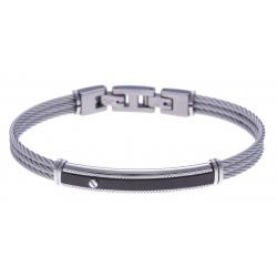 Bracelet acier - 2 tons - 3 câbles acier -  plaque noire - vis - 19,5+1,5cm - réglable