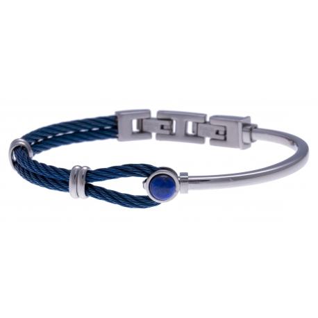 Bracelet acier - câble acier bleu - cabochon lapis lazuli - 19,5+1,5cm - réglable