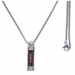 Collier acier 2 tons - 2 câbles en acier marron - vis en or jaune 18KT 0,02gr - 50cm
