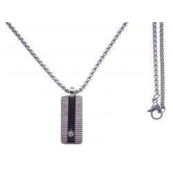 Collier acier 2 tons - acier et noir - plaque 25x10mm - étoile - 50 CM