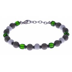 Bracelet acier - verre de murano - tons verts,blancs et gris - 19+4cm