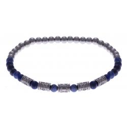 Bracelet acier pour homme - élastique - sodalite - composants acier - 21cm